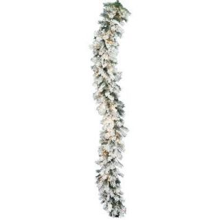 Pre Lit Flocked Alaskan Garland   Clear Lights (9)